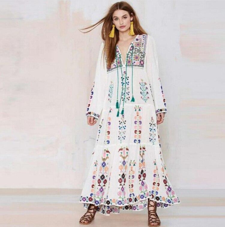 2018 bohème Floral gland brodé Maxi robe à manches longues Floral robes rétro Vintage femmes été Boho Chic Style robes