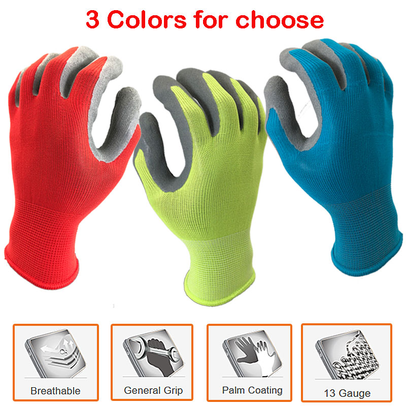 NMSafety Protective Work Gloves For Gardening Industry With Colorful Polyester Dipping Foam Latex Safety Working Gloves