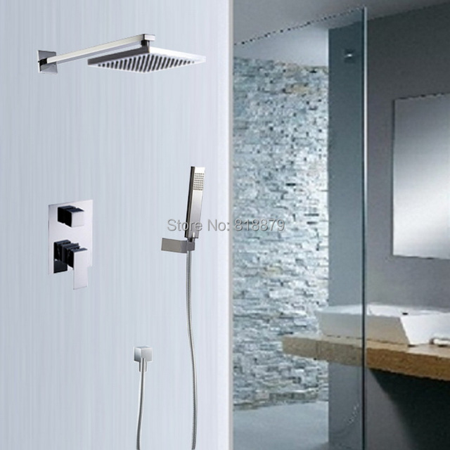Square wall mounted brass rain shower mixer bathroom faucet copper ...