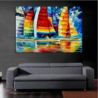 100%Handpainted Abstract Tiny Sailing Boats Knife Thick Oil Painting On Canvas Wall Picture For Home Decor As Best Gift