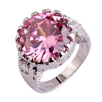 2016 Engagement Fashion Style Pink Sapphire White Topaz  Silver Ring Size 6 7 8 9 10 Jewelry For Women Free Shipping