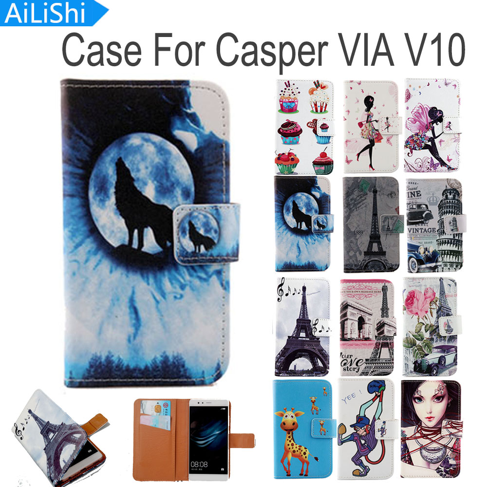 AiLiShi Flip PU Leather Case For Casper VIA V10 Case Luxury Cartoon Painted Protective Cover Skin With Card Slot image