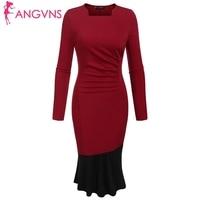ANGVNS Women Long Sleeve Fishtail Bodycon Dress Elegant Ruched Slim Pencil Mermaid Dresses Vintage OL 2018