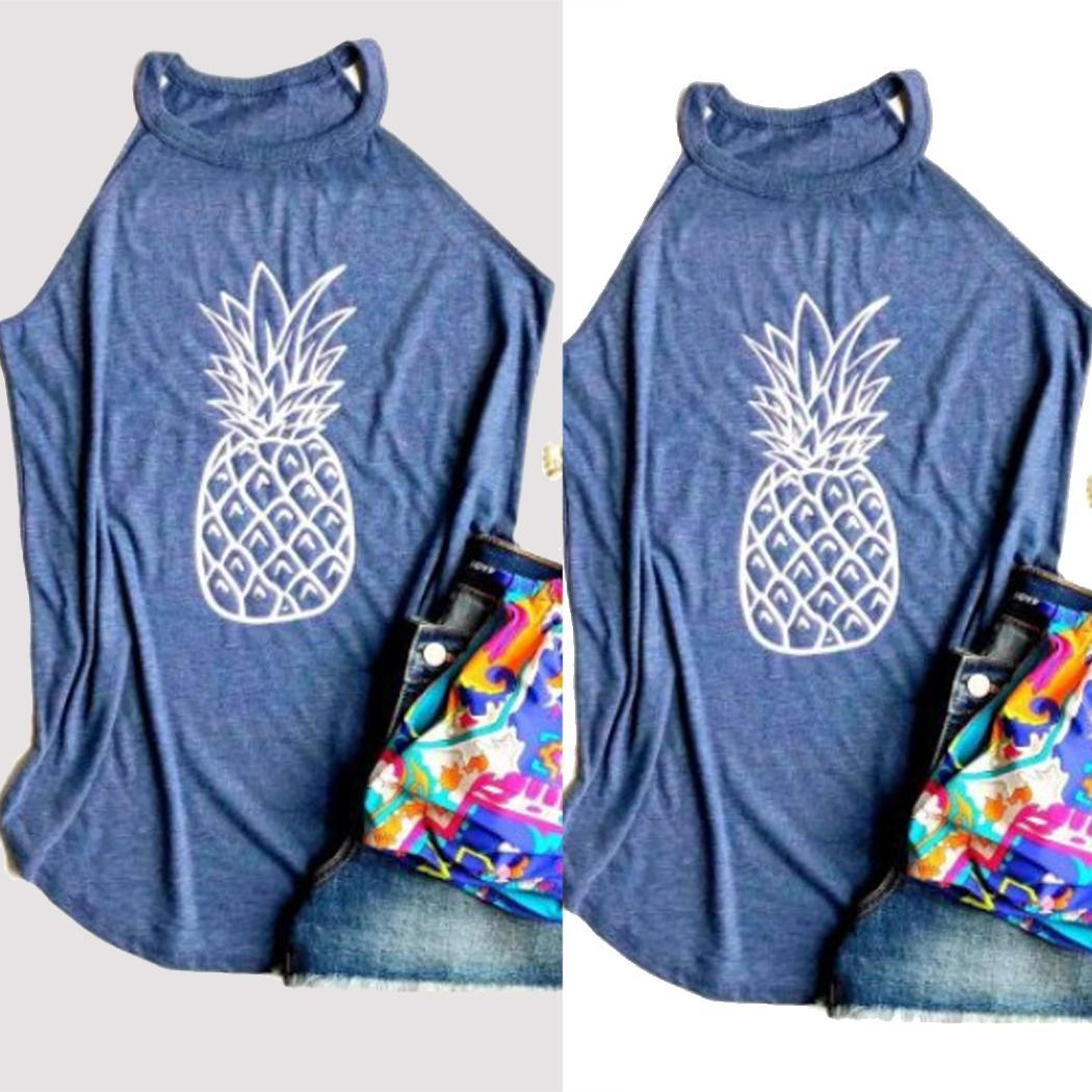 Women Pineapple Print Sleeveless Shirt Summer Blue High Neck Casual Tank None Tops Regular(China)