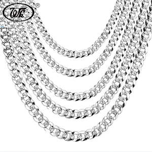 WK 100% 925 Sterling Silver Necklace Men Link Chain Male