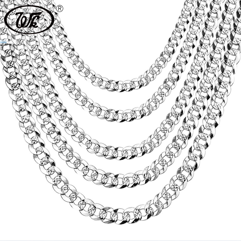 WK 100% 925 Sterling Silver Mens Silver Chain Necklace Men Hip Hop Rapper Curb Cuban Link Chain Male 4MM 5MM 6MM 20 22 26 NM005
