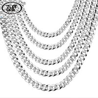 WK 100 925 Sterling Silver Chain Men Hip Hop Rapper Curb Cuban Link Chains 4MM 5MM