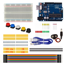UNO R3 Starter Kit Breadboard LED Jumper Wire Button Resistor 1k 10k 220 470 ohm Photoresistor With USB Cable for Arduino UNO R3