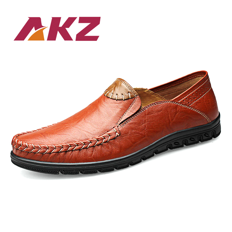 AKZ 100 Genuine Leather Man Loafers Men s casual shoes 2018 Spring Summer Light Air mesh