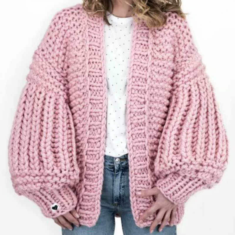 50a5026cd29 Luxury Hand Knit Cardigan Sweater Hook V-Neck Coarse Wool Jacket Lazy  Crocheted Coat Rough Lantern Sleeved Batwing Outwear Tops