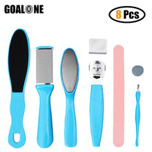 GOALONE 8 in 1 Foot Scrubber Pedicure Kit File Rasp Callus Scraper for Removing Dead Skin Feet Exfoliating Cleaner