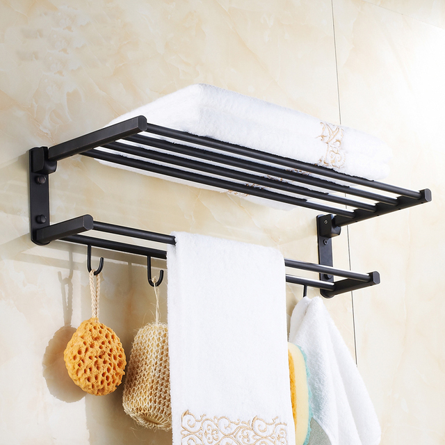 60cm Oil Rubbed Bronze bathroom shelves towel racks black, European ...