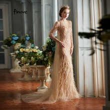 Finove Evening Dresses 2020 New Arrivals Elegant Champagne Mermaid Luxury Beading Feather Floor Length Party Gowns Woman Dress