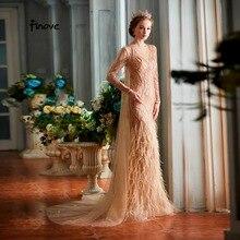 Finove robe de soirée forme sirène, élégante tenue de soirée au sol, robe de fête, avec perles, Champagne, luxueuse, nouvelle collection, 2020