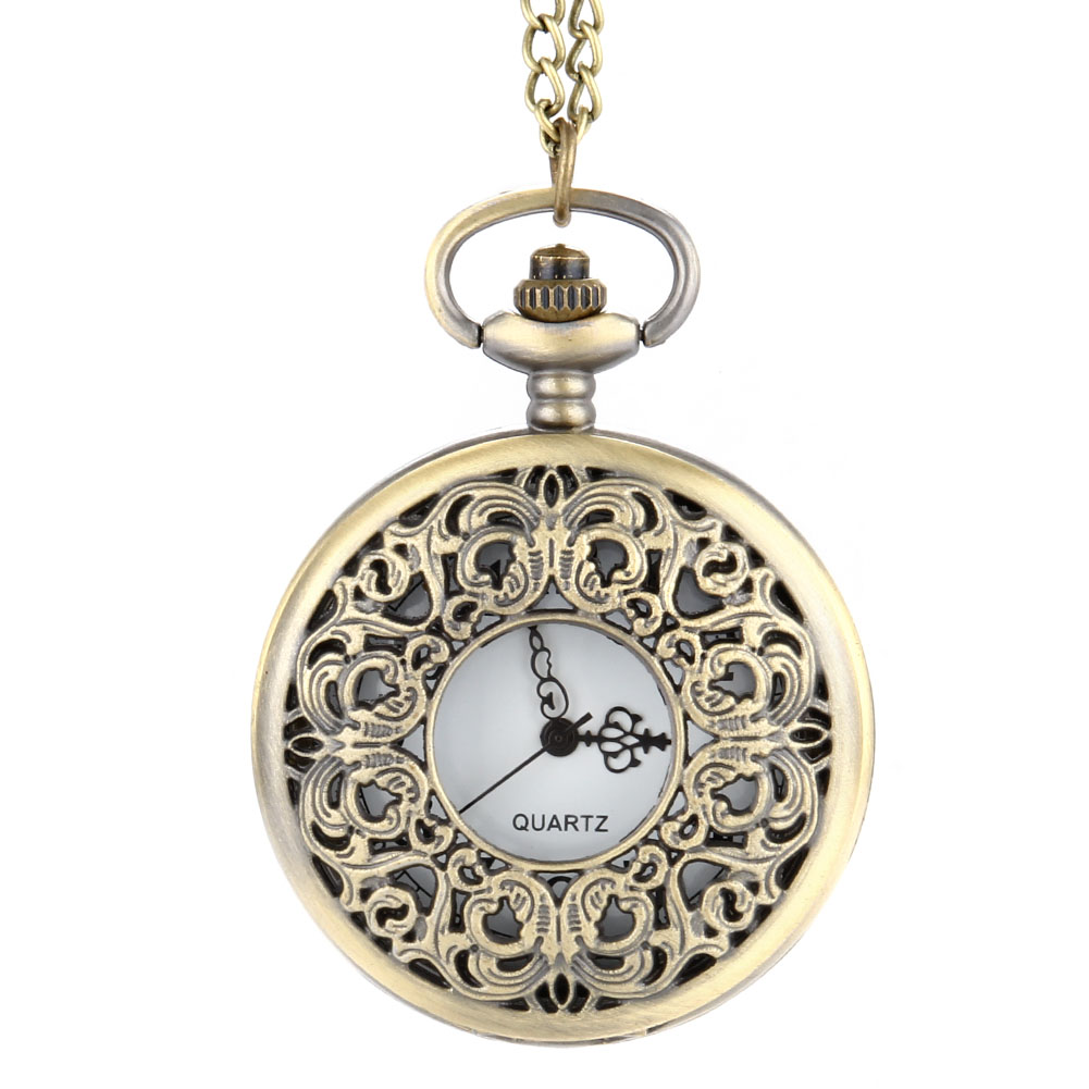 2017 New Vintage Steampunk Hollow Flower Quartz Pocket Watch Necklace Pendant Chain Clock Gifts LL@17