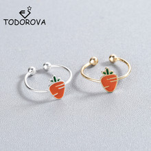 Todorova Lovely Carrot Open Kunckle Rings for Women Girl Children Kids Fashion Party Jewelry Adjustable Finger Ring Gift