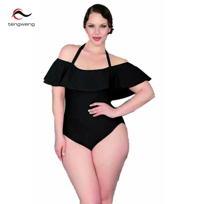 9039bc688ea94 2017 Vintage Plus Size L 4XL Black Sexy Halter One Piece Swimsuit Retro  Women Ruffle Off Shoulder Swimming Bathing Suit Monokini-in Body Suits from  Sports ...