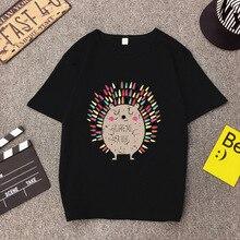Summer Korean Style Women T Shirt Casual Cartoon Hedgehog Print Short Sleeve Fem