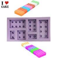 6 Holes Lego Brick Blocks Shaped Rectangular DIY Chocolate Silicone Mold Ice Cube Tray Cake Tools