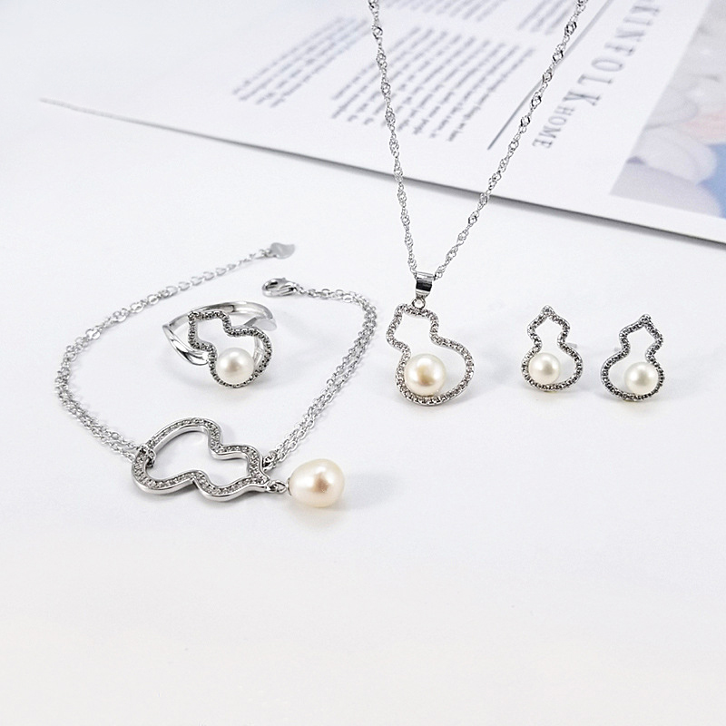 Ensemble de bijoux en forme de gourde en argent Sterling pour femme ensemble de bijoux en perles d'huître