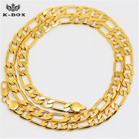 24K Gold Plated 6mm Width Figaro Chain 60 76cm Long Fashion Hiphop Golden Franco Chain Lovers