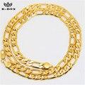 Mens 24 K banhado a ouro 6 mm italiano Figaro Chain Link colar 24 polegadas / 30 polegadas 2 tamanho escolher Hip Hop