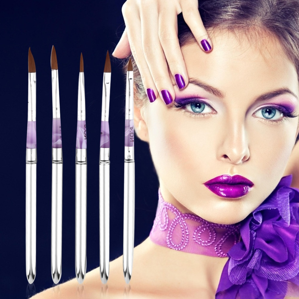 5pcs Acrylic Nail Art Gel Painting Brush Pen Tool Set False Tips Drawing Beautiful and practical nail pen