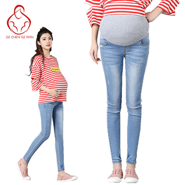 Calças de brim das mulheres grávidas moda de alta qualidade confortáveis das mulheres grávidas calças barriga elásticas calças de maternidade as mulheres grávidas mulheres grávidas