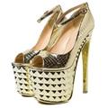 2017 Ouro Sexy Peep Toe 19 cm Extrema Salto Alto Marca Mulheres Bombas Senhoras Sapatos de Plataforma Mulher Chaussure Femme Zapatos Mujer