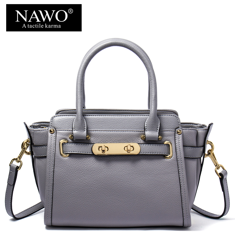 NAWO Cow Genuine Leather Trapeze Women Shoulder Bags Small Sequined Bags Female Bags Handbags Women Famous Brands Crossbody Bags