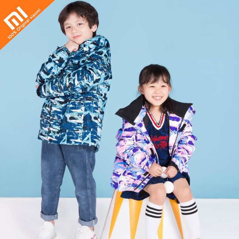 Original xiaomi mijia children star print ski suit waterproof breathable boy and girl warm thick jacket high quality round hem button up star print striped jacket page 4