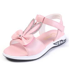 Buy Fashion Girls Sandals Kids Bow Children's Princess Shoes Girls For Student chaussure fille 4T 5T 6T 7T 8T-16T Pink White Black directly from merchant!