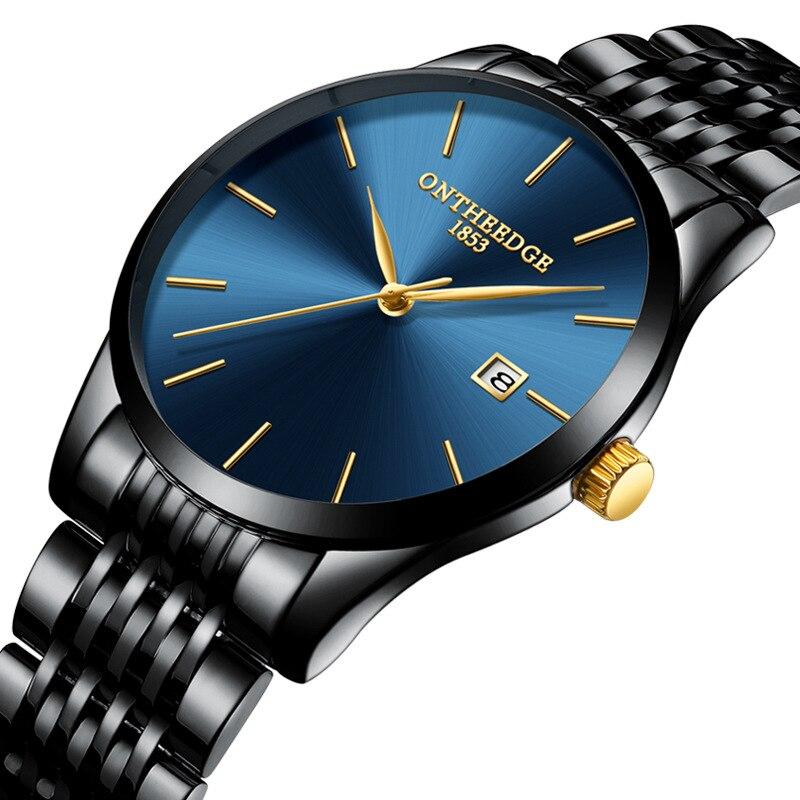 ONTHEEDGE mens montres de luxe noir bleu or en acier inoxydable homme montres 30 m étanche calendrier original hommes de montre