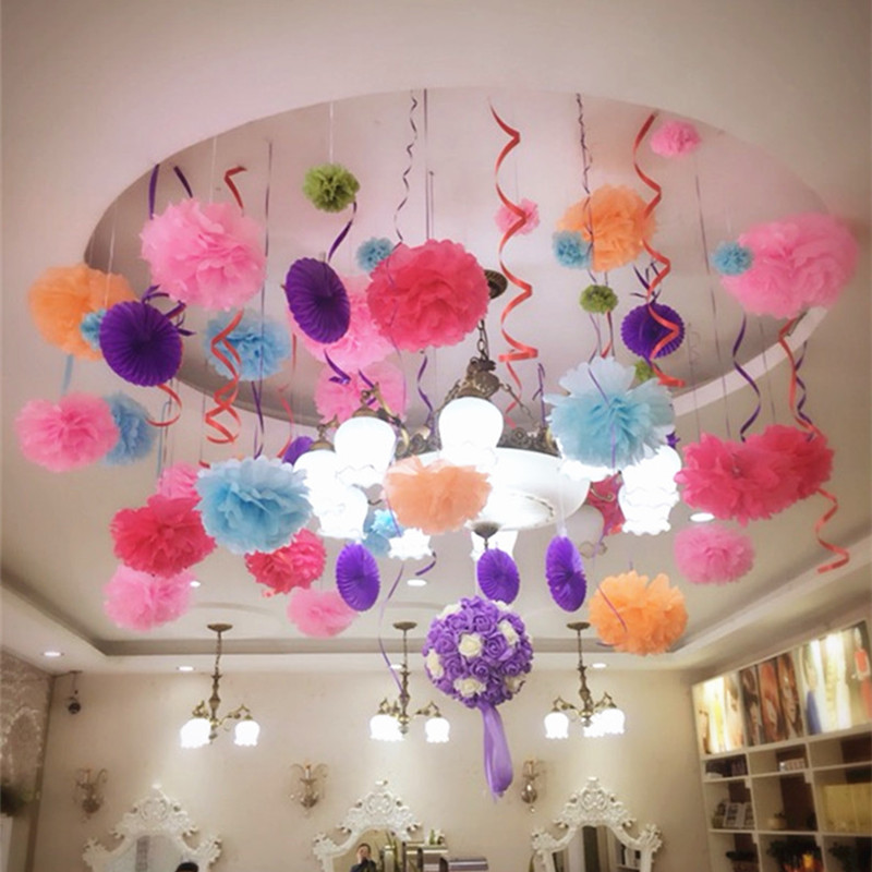 AJP 10pcs/lot Tissue Paper Flowers pom poms balls lanterns Party Decor For Wedding Decoration birthday party supplies