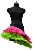 2018 New Latin Dance Skirt Women Spandex Tassel Latin Competition Clothing For Dance Latin Cha cha/Rumba Dance Fringe Skirt