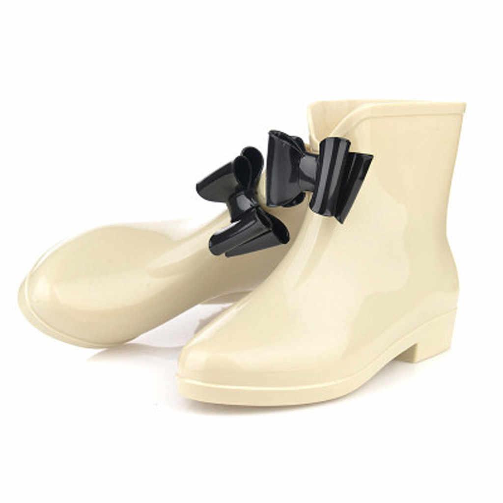 Frauen Keile Regen Stiefel Frauen Flache Ferse Runde Kopf Slip-On Stiefel Kurze Rohr Regen Stiefel Nicht- slip Wasserdichte Wasser schuhe frau