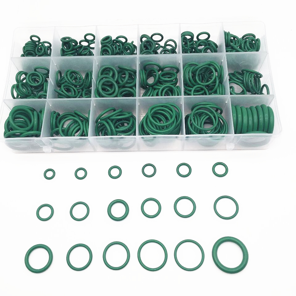 HARBLL 530PCS High Quality 18 Sizes O-ring Kit Green R134A Rubber O Ring O-Ring Washer Seals Assortment for Cars 530pcs high quality 18 sizes o ring kit green r134a rubber o ring o ring washer seals assortment for car