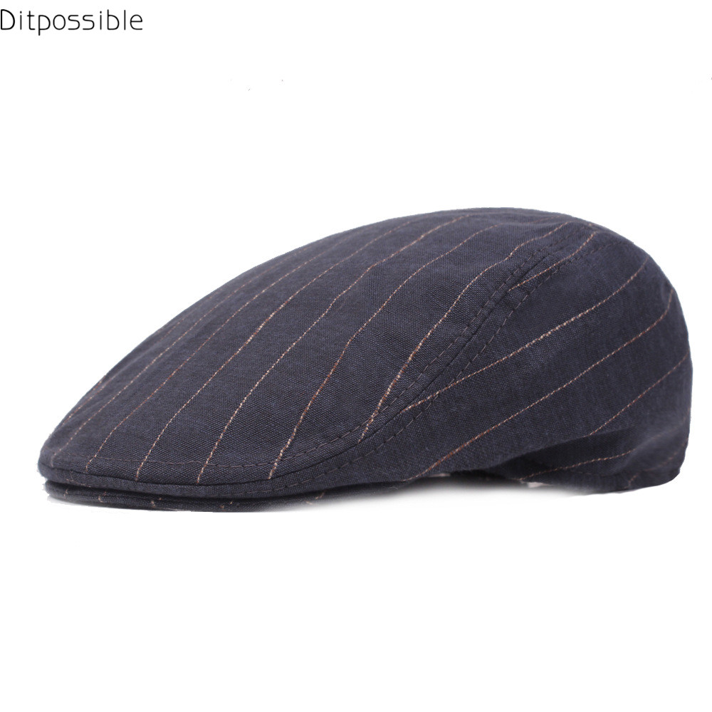 98447a03 Ditpossible 2018 new casual men beret hat women flat cap trendy striped  casquette gorras caps male