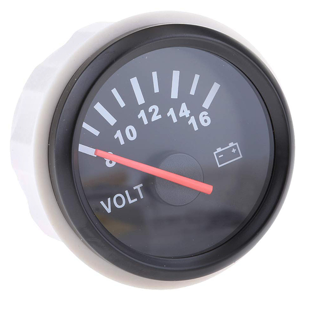 52 mm Voltmeter Indicating 8~16 V Range Stainless Steel  Motor Boat Car Volt Meter Gauge with Backlight