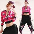 Джаз ds шаровары женщины верхний женщины одежда без тары ультра-дешевый короткая топы неон каракули хип-хоп хип-хоп танец костюм верхней одежды