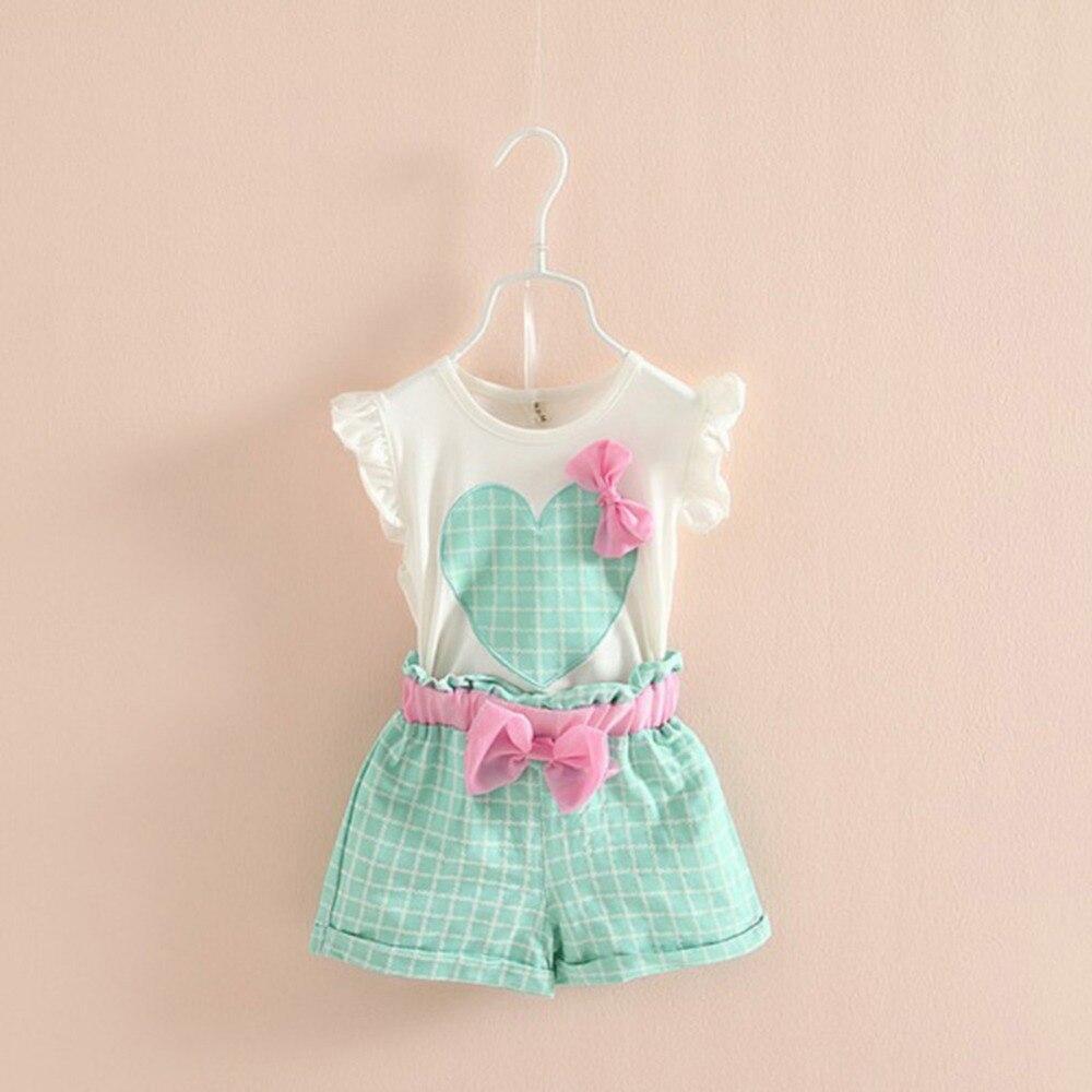 Для маленьких детей девочек без рукавов сердце-лук топы футболка + шорты наборы детской одежды