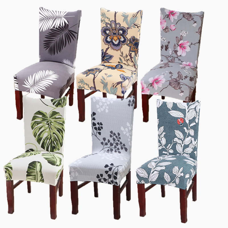 Spandex Elastic Chair Cover Home Living Dining Seat Cover Stretch Modern Flower Printed Kitchen Restaurant Hotel Slipcover