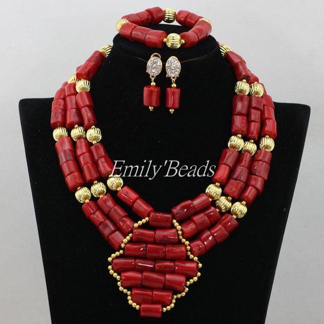 Красный костюм африканский Jewerly комплект настоящее коралловый бусины ожерелье браслет нигерии свадьба позолоченный комплект CJ509