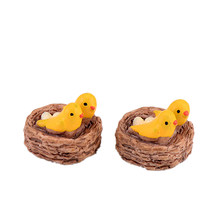 DIY Mini nest with birds fairy garden miniatures gnomes moss terrariums resin crafts figurines for home decoration accessories(China)