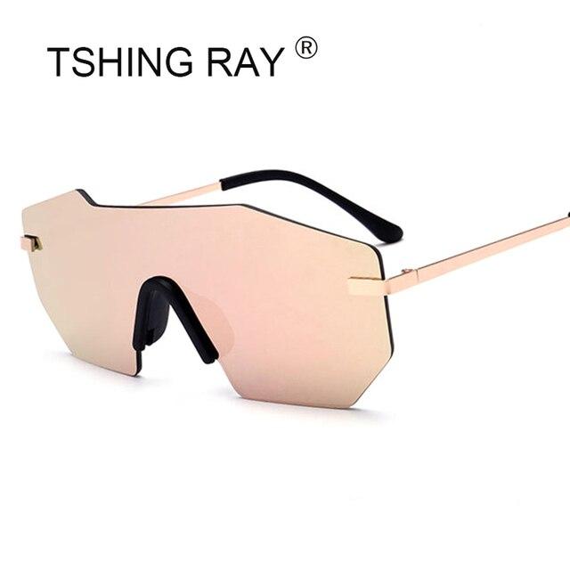 Tshing 2018 nuevo lujo marca sin montura Gafas de sol mujeres moda una  lente pieza diseñador cfd63358790a