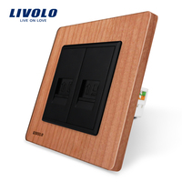 Manufacture Livolo Cherry Wood Panel 2 Gangs Wall Tel And Com Socket Outlet VL C791TC 21