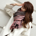2016 Fashion Cashmere Women Scarf Plaid Thick Large Scarf Women Warp Stripes Scarves Shawl for Woman F044-1