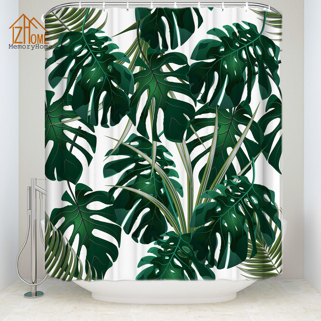 Memory Home Tropical Palm Leaves Printed Polyester Shower Curtain Green Plant Waterproof Fabric Bathroom