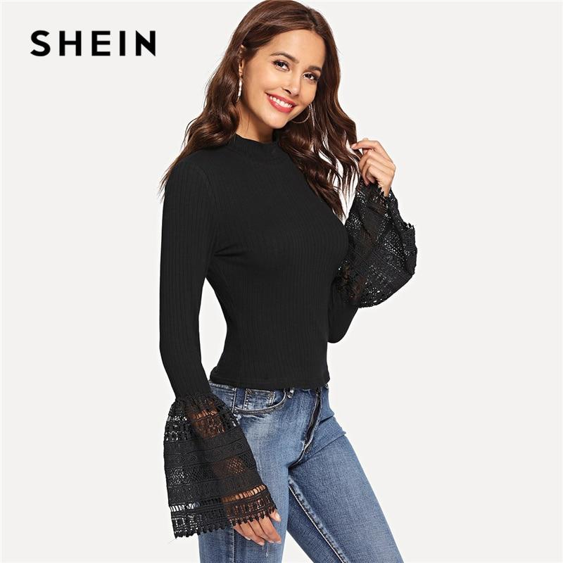 SHEIN Black Exaggerate Guipure Lace Cuff Form Fitting Tee Elegant Plain Stand Collar Slim Fit T-shirt Women Rib-Knit Autumn Tops