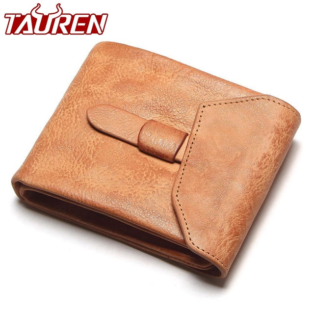 bcd3c3264402 Tauren Fashion Designer Handmade Hand Brushed Color Genuine Leather Wallet  With Coin Pocket Real Leather Purse For Men Women